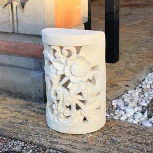 石のランプシェード 玄関灯 石の壁飾り アジアンガーデン バリ風 お庭|caran2