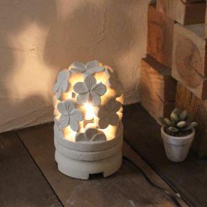 ミニ灯篭 石像 ライト 照明 ハイビスカス H15 バリ風 アジアン インテリア|caran2