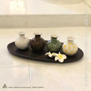 タバナン焼きのオイルボトル アロマボトル 黄 緑 茶 白 陶器 バリ雑貨 アジアン雑貨|caran2