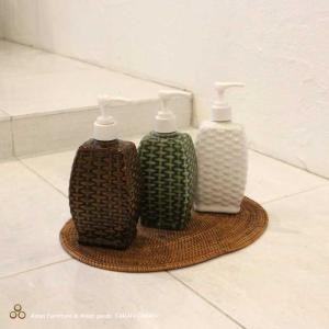 タバナン焼きのソープボトル ハンドソープボトル 四角型 緑 茶 白 陶器 バリ雑貨 アジアン雑貨|caran2