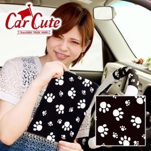車検証ケース(ブックカバータイプ)肉球 柄の 足あとブラック(にくきゅう/猫/ネコ/犬/イヌ/かわいい/おしゃれ) carcute