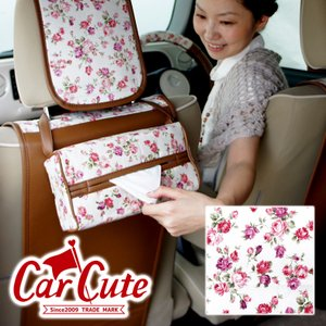 ティッシュボックスカバー・バラ柄が かわいい アンティークフラワーアイボリー( ティッシュカバー/車用/花柄/可愛い) carcute
