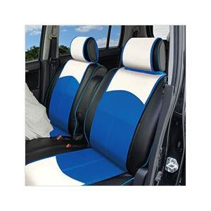 シートカバー(スマートレザータイプ/前席2シート)おしゃれなバイカラー ブルー×ホワイト 簡単取付(軽自動車 可愛い おしゃれ カワイイ) carcute