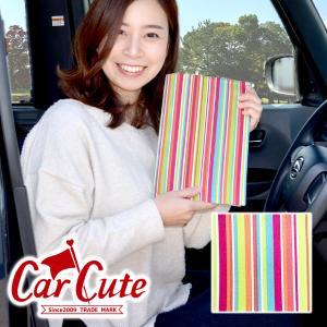 車検証ケース(ブックカバータイプ)ダブルレインボー( ストライプ ボーダー 虹  かわいい おしゃれ ) carcute