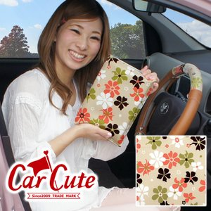 《アウトレット》車検証ケース(ブックカバータイプ) 夢見る ピンクミルクティー(花柄/フラワー/かわいい/おしゃれ) carcute