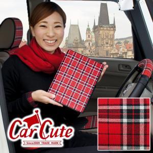 車検証ケース(ブックカバータイプ)英国的 おしゃれな ロイヤルチェックレッド(チェック/赤/かわいい) carcute