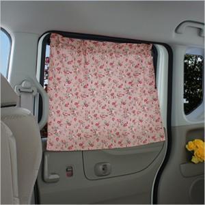 日よけ カーテン リア席サイド用 <1枚> 花柄がかわいい アンティークフラワーピンク 暑さをかわいく守る carcute
