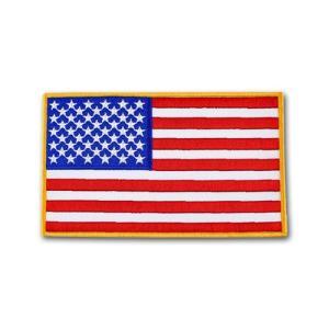 アメリカ国旗 - ゴールドメロウエッジ(5in x 8in)【縫付タイプ】|card-museum