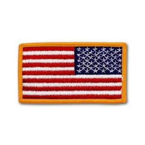アメリカ国旗 - 右肩用(ゴールドエッジ)リバースパッチ【縫付タイプ】|card-museum