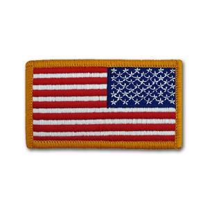 アメリカ国旗 - 右肩用(ゴールドエッジ)リバースパッチ【ベルクロタイプ】|card-museum