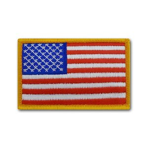 アメリカ国旗 - 左肩用(ゴールドエッジ 3in x 5in)【縫付タイプ】|card-museum