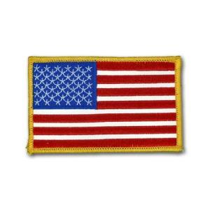 アメリカ国旗 - 左肩用 反射パッチ(ゴールドエッジ)【縫付タイプ】|card-museum