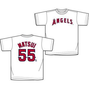 松井秀喜 MLB ネーム&ナンバー Tシャツ (日本サイズ) (ロサンゼルス・エンゼルス / ホワイト #55)|cardfanatic