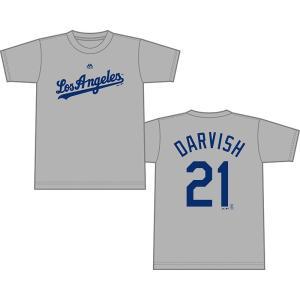 ダルビッシュ有 ネーム&ナンバーTシャツ (ドジャース/グレー/#21) / Majestic Yu Darvish 送料無料、9/13入荷!|cardfanatic