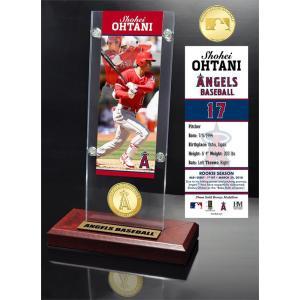 (予約)The Highland Mint (ハイランドミント) 大谷翔平 ロサンゼルス・エンゼルス MLB初ヒットブロンズコイン入りアクリルデスクトップ