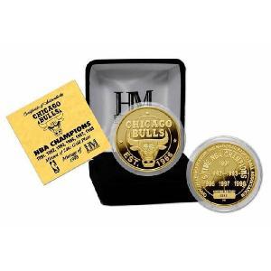 The Highland Mint (ハイランドミント) NBA シカゴ・ブルズ ゴールドコイン Chicago Bulls 6 Time Champions 24KT Gold Coin Medallion|cardfanatic