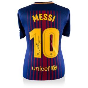 リオネル・メッシ 直筆サイン入りユニフォーム 2017-18 FC バルセロナ バックサイン (Lionel Messi Official Back Signed Barcelona 2017-18 Home Shirt)|cardfanatic