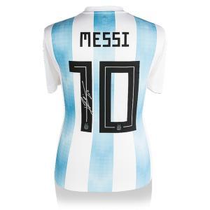 リオネル・メッシ 直筆サイン入りユニフォーム 2017-18 アルゼンチン代表 バックサイン (Lionel Messi Official Back Signed Argentina 2018 Home Shirt)