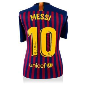 リオネル・メッシ 直筆サイン入りユニフォーム 2018-19 FC バルセロナ バックサイン (Lionel Messi Official Back Signed Barcelona 2018-19 Home Shirt)