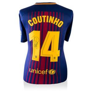 フェリペ・コウチーニョ 直筆サインジャージ 2017-18 FCバルセロナ ホーム (Back Signed FC Barcelona 2017-18 Home Shirt) / Philippe Coutinho
