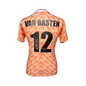マルコ・ファン・バステン 直筆サイン入りユニフォーム EURO 1988 オランダ代表 ホーム バックサイン(Marco van Basten Signed Netherlands 1988 Shirt)|cardfanatic