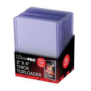 (ウルトラプロ UltraPro 収集用品) レギュラーサイズ厚型カード用トップローダー 55pt (クリア)25枚入りパック (#81181B)|cardfanatic