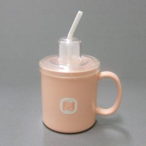 台和ストロー付きマグカップ 1個 ピンク|careshop-lincle