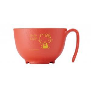 木目もちやすい・すくいやすい(ハローキティ)/朱/茶碗ハンドル付|careshop-lincle