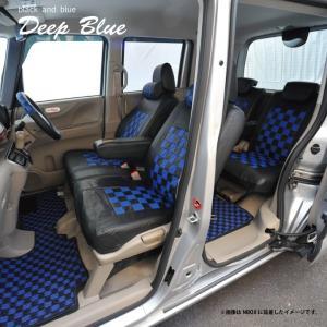 フロント席シートカバー ニッサン モコ 前席 [1列分] シートカバー ディープブルー チェック 黒&ブルー Z-style ※オーダー生産(約45日後)代引不可|carestar|06