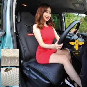 涼しい シートカバー 涼感 ブラック ハニカムメッシュ 1席 暑さ対策 汎用 軽自動車 普通車 兼用 洗える 布  かわいい カー シート カバー 車 CARESTAR|carestar