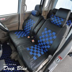 トヨタ ピクシスメガ シートカバー ディープブルー チェック 黒&ブルー Z-style ※オーダー生産(約45日後)代引不可 carestar 04