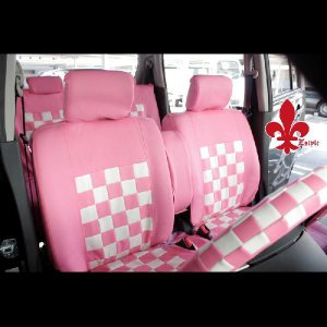 パジェロミニに!軽自動車汎用★ピンクマニアシートカバー《ピンク&ホワイト》 【汎用シートカバー】