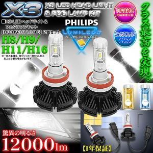 ダイハツ/スズキ/三菱/H16 X3 PHILIPS 12000ルーメンLEDヘッドライト&フォグランプキット50W/6500K車検対応2個セット/1年保証