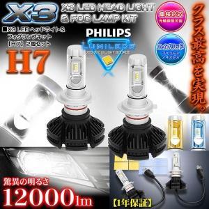 《車検対応 》【H7】X3 12000LMフィリップス製LEDヘッドライト&フォグランプキッ...