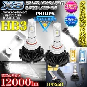 《車検対応 》【HB3】X3 12000LMフィリップス製LEDヘッドライト&フォグランプキ...