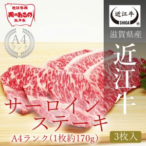 A4ランク 近江牛サーロインステーキ(1枚約170g) 3枚入り|carne-shop