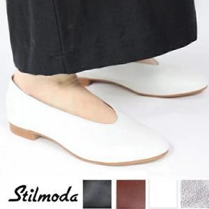 Stilmoda スティルモーダ 7602 イタリア製 レザーシューズ レディース バレエシューズ 本革 ぺたんこ靴 ヒール バブーシュ|carre-store