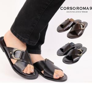 CORSO ROMA 9 サンダル クロス コルソローマ フラット トング ストラップ ベルト 本革...