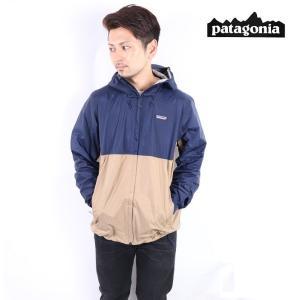 パタゴニア patagonia メンズ トレントジャケットTorrentshell Jacket 83802 ナイロンジャケット ジャケット メンズ レディース CLASSIC NAVY W/MOJAVE KHAKI|carre-store