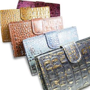 二つ折り財布 レディース レディス ブランド 革財布 クロコ型押し×ナッパ革レザー イタリア Antonini アジェンダ・コッコ brand|carron