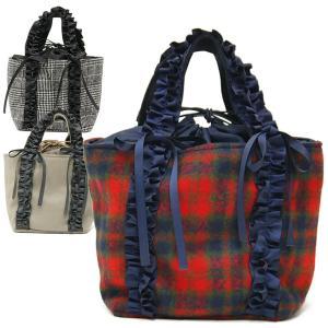 ミニトートバッグ レディース レディス フリルハンドル グログランリボン チェック 軽い 小さめ 鞄 グレンチェック 赤 カレン bag|carron