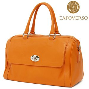 ボストンバッグ レディース レディス 通勤 本革レザー フロントポケット 2WAY 斜め掛け イタリアブランド brand CAPOVERSO クラウディア bag|carron