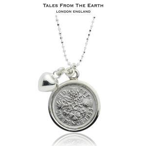 シルバーペンダント レディース レディス コインチャーム 幸福の6ペンス銀貨 ネックレス イギリス TALES FROM THE EARTH|carron