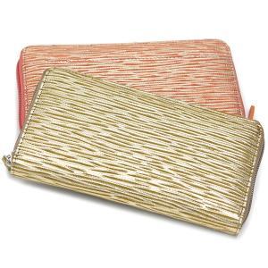 ラウンドファスナー長財布 レディース 使いやすい 本革 クリアポケット おしゃれ ゴールド イタリアンメタリックレザー MADERA|carron
