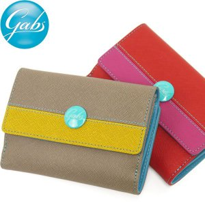 二つ折り財布 レディース レディス ブランド サフィアーノレザー バイカラー イタリア GABS brand|carron