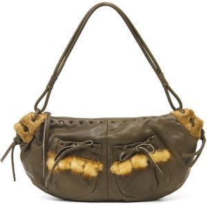 ショルダーバッグ レディース レディス 上質カーフレザー 子牛革 ミンクファーポケット イタリア老舗ブランド GENE フリフリ 横長 brand bag|carron