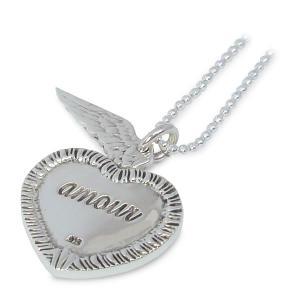 天使の羽根&ハートシェイプ シルバーペンダント イギリス製 TALES FROM THE EARTH キューピットの羽|carron