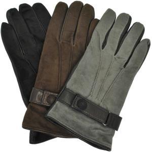 革手袋 メンズ Men's カシミヤライニング イタリア製 本革 スエードレザーグローブ パンチング ベルト付|carron