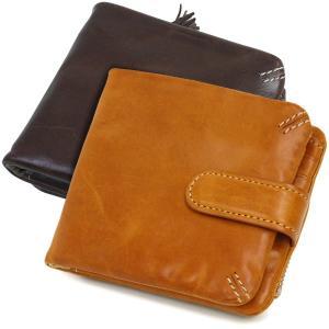 二つ折り財布 メンズ レディース 本革 ホック式 イタリアンオイルレザー|carron