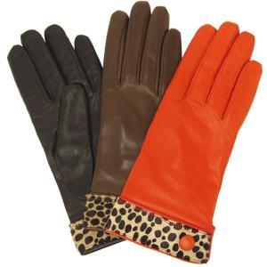 手袋 レディース 防寒 革 皮 てぶくろ あったか 暖かい レザー ウール 革手袋 レオパード柄 カフスデザイン イタリア AntonioMurolo|carron
